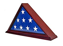DisplayGifts FC06-CH Solid Wood Elegant 5 x 9.5\' Flag Display Case for Burial/Funeral/Veteran Flag, Cherry