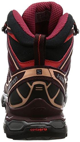 Salomon Women's X Ultra Mid 2 GTX W Low Rise Hiking Boots, Black, 8 Red (Tibetan Red/Fig/Peach Nectar Tibetan Red/Fig/Peach Nectar)