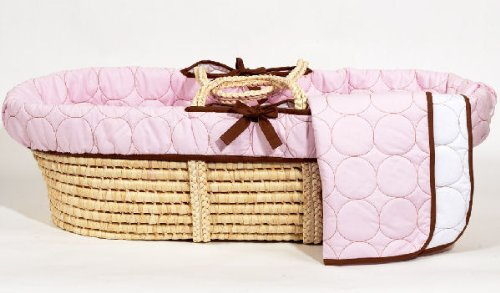 Bacati Quilted Circles Poses Basket, Pink/Chocolate