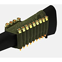 OD Green 13 Round Rifle Ammo Cartridge Hunting Stock Buttstock Slip Over Carrier Holder Fits .308 308 Federal Arms HK91 G3 Ambidextrous Bolt Lever Pump Action Sniper Hunting Rifle
