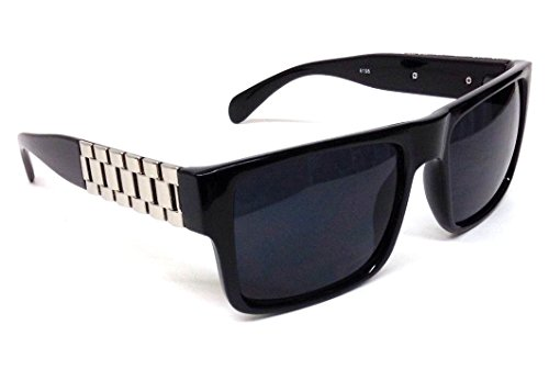 Black & Silver Watch Band Wayfarer Sunglasses Black - Sun Glass Band