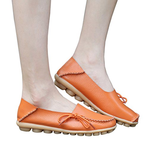 Moccasins Shoes Leather Casual Cowhide Lace Orange Womens Driving Flat Up Loafers nUpxYz