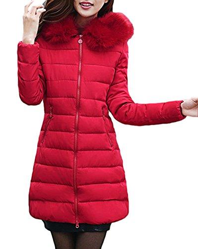 Parka Las Coat Ladies con Capucha Capucha Capucha Larga Chaqueta Winter Autumn Red Chaqueta de sintética Parka Piel Warm Scothen Acolchada Winter Invierno señoras Jacket 8Xwqx8dZT
