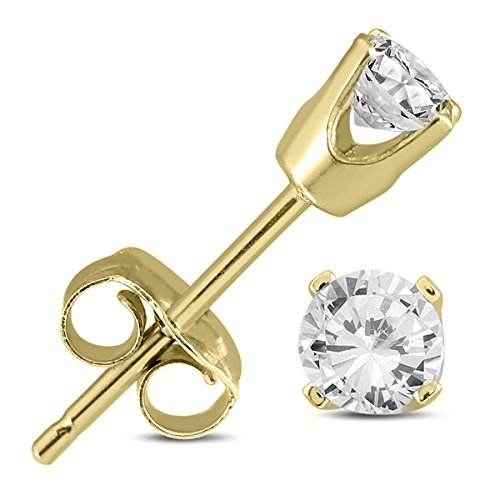 1/4 Carat TW AGS Certified Round Diamond Solitaire Stud Earrings in 14K Yellow Gold (K-L Color, 12-I3 Clarity) (Cut Round Diamond Yellow)