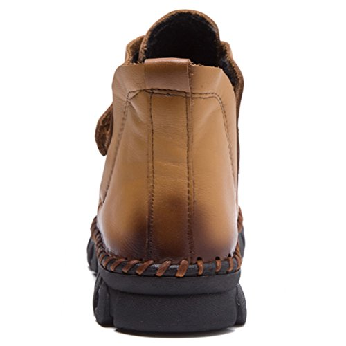 MatchLife Women Retro Leather Lace Up Winter Ankle Boots Style3-Yellow Brown-Fleece mgtG5