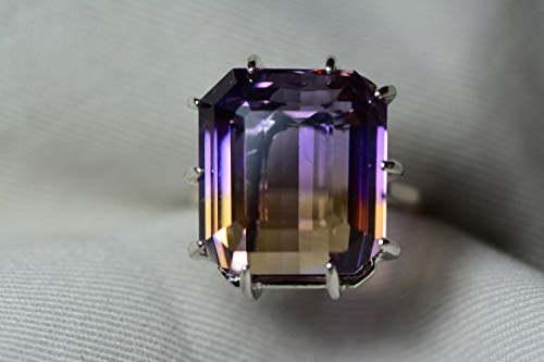 Ametrine Ring, Certified 30.82 Carat Ametrine Solitaire Statement Piece Appraised At 2,150.00 Sterling Silver, Natural Purple Yellow, Real