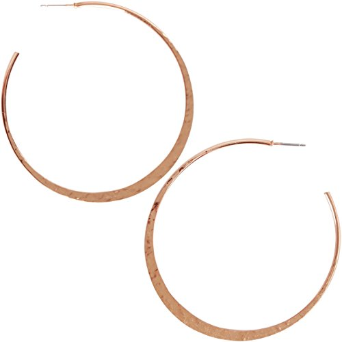 - Humble Chic Big Hoop Earrings - Textured Open Round Statement Loops with Hypoallergenic Stainless Steel Post, Flat Crescent 18K Rose, Pink Gold-Electroplated