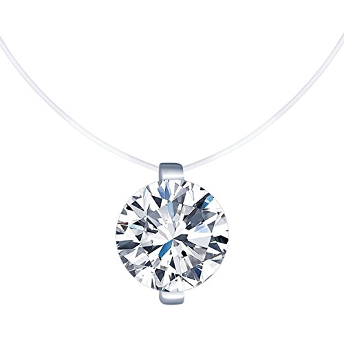 Belons Women Girls Silver Plated Necklace Cubic Zirconia Solitaire Pendant Invisible Nylon Chain Choker