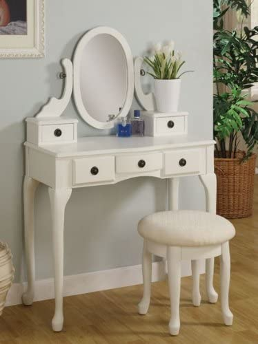 2pc Vanity Set with Stool in Off White Finish