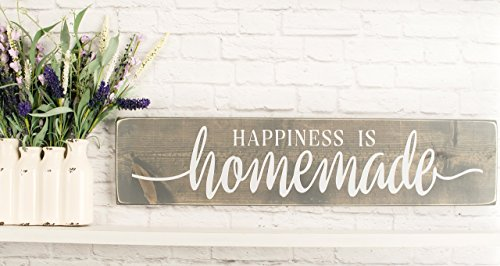 Grey Happiness Is Homemade - Rustic Handmade Farmhouse Wood Wall Decor (Decor Homemade)