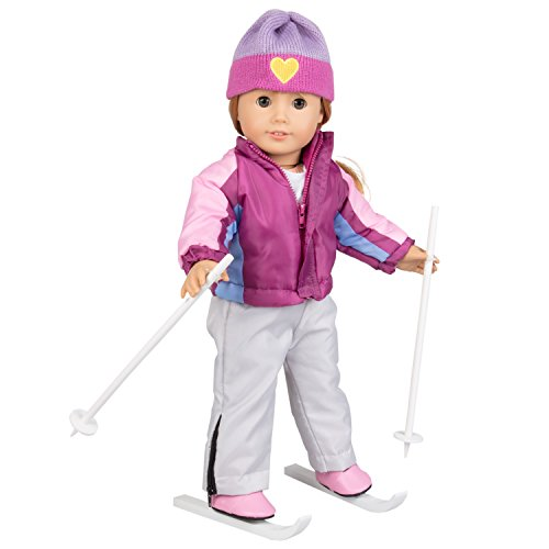 Poles Boots Skis (Dress Along Dolly Skiing Doll Clothes for American Girl Dolls: