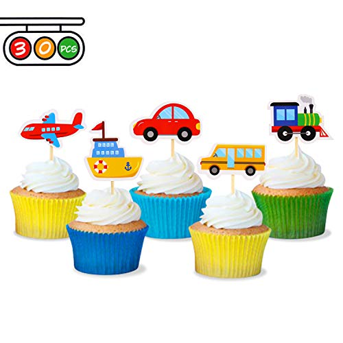 Transportation Cupcake Toppers Car Bus Train Plane Ship DIY Cupcake Toppers for Baby Shower Birthday Party Decorations (30) -