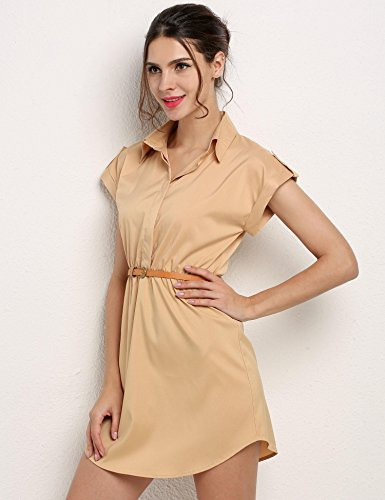 Chiffon Dresses Dresses Women Knee Length Sleeves Dresses Dresses for Khaki with dozenla Summer Business Womens aqOppE