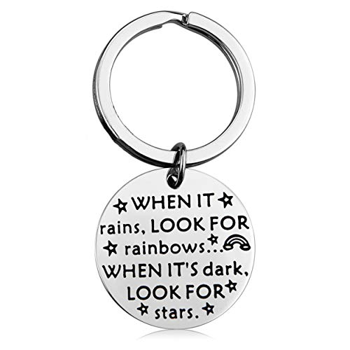 MAOFAED Sympathy Gift Recovery Keychain Get Well Soon Gift Deployment Gift Missionary Gift When it Rains Look for Rainbows When It