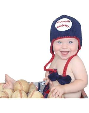 Melondipity Boys Baby Baseball Hat - Premium Handmade Blue Knit Beanie
