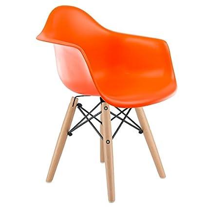 Mobistyl® Promo 1Sessel Kinder Inspiration Eiffel DAW Füße Helles Holz Sitzfläche Orange Chairstyl