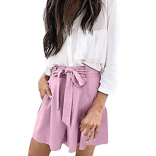 ZEFOTIM ✿ Casual Pants for Women Casual Short Loose Pant Elastic Waist Bowknot Shorts Pockets Pant(Pink,XXX-Large) ()