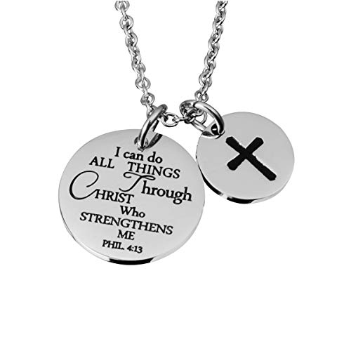 omodofo Christian Necklace Bible Verse Cross Pendant Prayer Charm Necklace Faith Religious Jewelry for Women (I can do All Things Through Christ who Strengthens) (Box Prayer Pendant Faith)