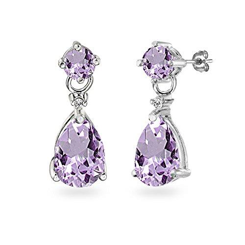 Amethyst Necklace Bracelet Earrings - Sterling Silver Amethyst Teardrop Dangle Earrings