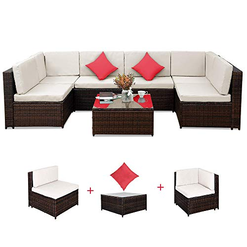 Romatlink, 7 Pieces Outdoor Rattan Patio Furniture Set, Modern Wicker Conversation Sectional Sofa Chairs with Cushioned Couch | Pillows & Glass Top Coffee Table, Perfect for Garden Lawn Pool ()
