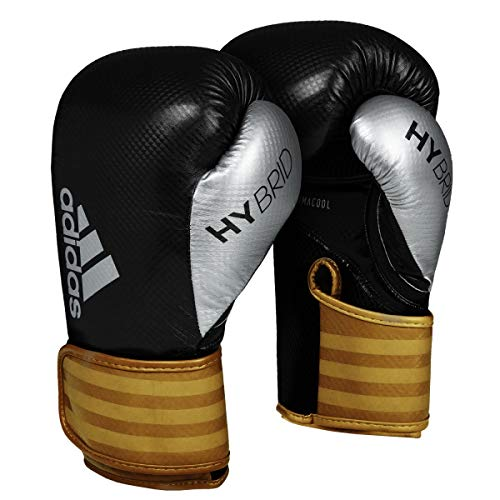 adidas Hybrid 65 Boxing Gloves, Black/Gold, 16 oz