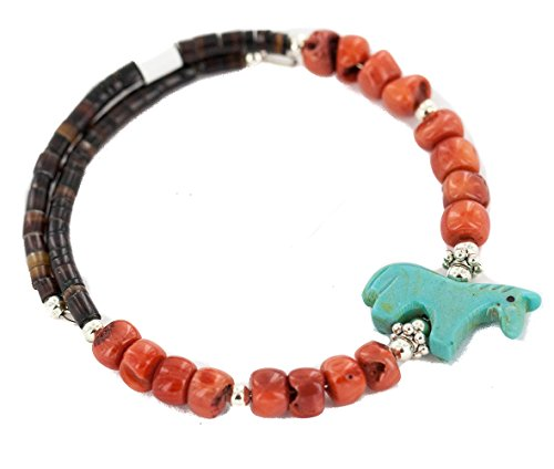 $80 Retail Tag Navajo Authentic Carved Fetish Horse Made by Charlene Little Heishi Coral Native American Wrap Bracelet