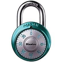 Master Lock Padlock, Wide Dial Combination Lock, 1-7/8 in. Wide, Blue, 1561DAST