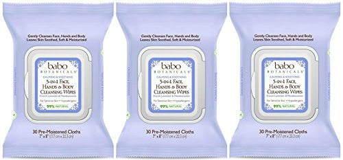 Babo Botanicals 3-in-1 Calming Face, Hands & Body Wipes - Lavender & Meadowsweet (Pack of 3) with Chamomile Flower Extract and Meadowsweet Extract, 30 wipes each