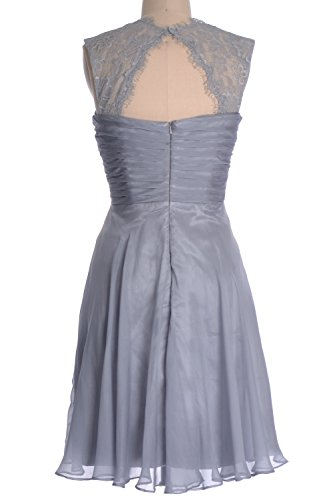 Dress Dunkelmarine Formal Short Women Gown Lace Chiffon Cocktail MACloth Bridesmaid Straps FaSwfFqP