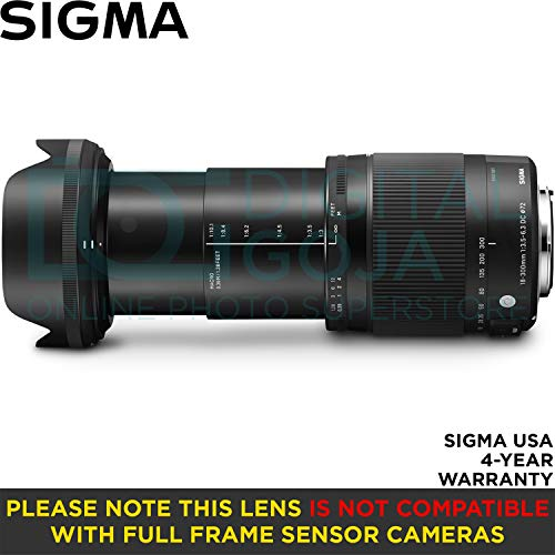 Sigma 18-300mm F3.5-6.3 Contemporary DC Macro Os HSM Lens for Nikon DSLR Cameras with Altura Photo Advanced Accessory and Travel Bundle