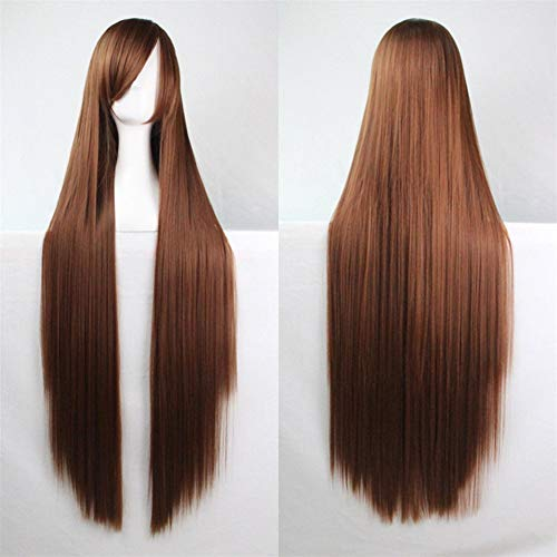 39'' Womens Long Straight Synthetic Brown Wig Girl's Halloween Cosplay Party Wig