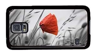 Hipster Samsung Galaxy S5 Case cassette poppy background PC Black for Samsung S5