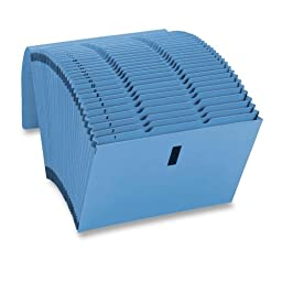 Smead WaterShed/CutLess Expanding File 70743, Daily (1-31), 31 Pockets, Flap with Hook and Loop Closure, Letter Size, Blue (70743)