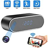 Alarm Clock Camera, HD1080P Hidden Covert Nanny Cam 140°Angle Night Vision Motion Detection,Wireless Security Nanny Surveillance Spy Camera for Home Indoor