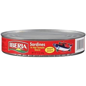 Iberia Sardines In Hot Tomato Sauce, 15 oz, Sardinas en Salsa de Tomate Picante