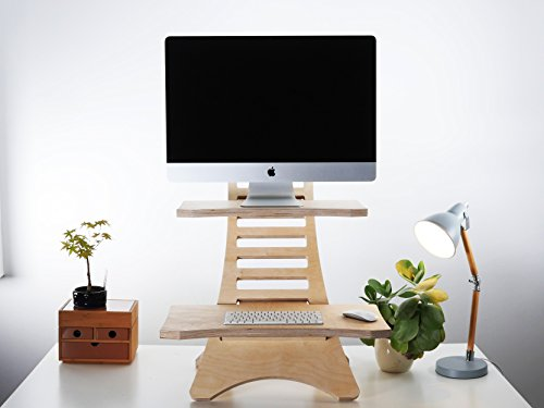 Humbleworks Adjustable Wooden Standing Desk and Stands, For Laptops And Desktop Monitors: Ergonomic Table Top Attachment Laptop Riser And Organizer (Standing Desk (up to 27