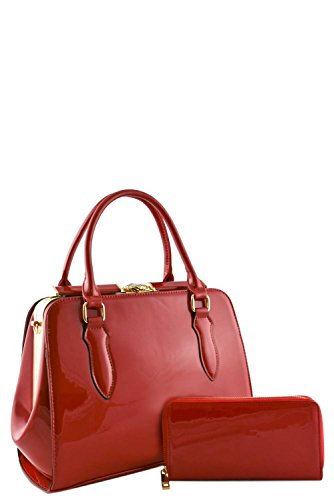 womens-designer-faux-leather-2-in-1-patent-doctor-bag-set-va2018-red