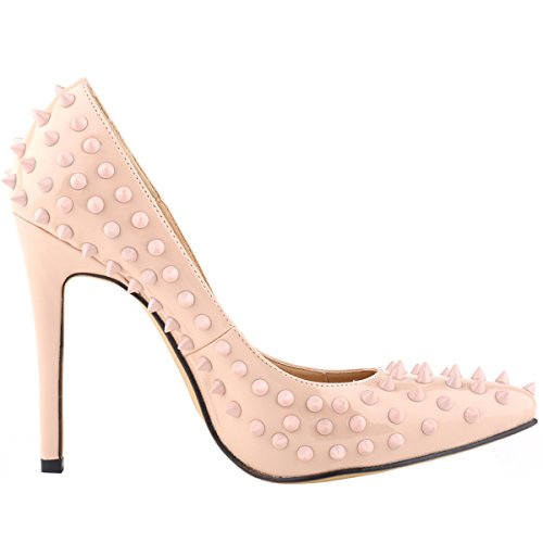 Loslandifen Womens Patent Rivets High Heels Pointed Toe Dress Pumps Nude i53mBJC