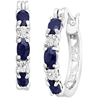 2 1/10 ct Natural Sapphire Hoop Earrings with Diamonds