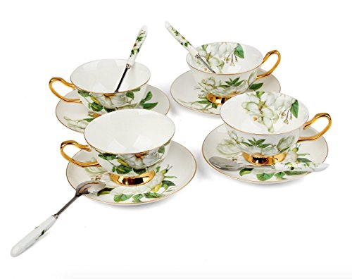 Porcelain Tea Cup and Saucer Set Coffee Cup with Saucer and Spoon 8 oz Set of 4 TC-SCH