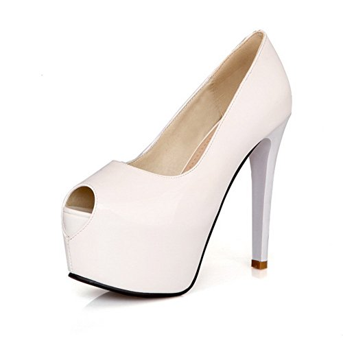 BalaMasa Ladies Low-Cut Uppers Pull-On Patent Leather Sandals White r9t4S