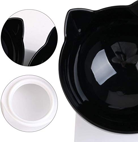 SKJIND Tilted Double Cat Bowls With Raised Stand,Transparent Non-spill Feeder Cat Feeding Bowl,Pet Food Water Bowl Perfect for Cats and Small Dogs (Double Bowls)