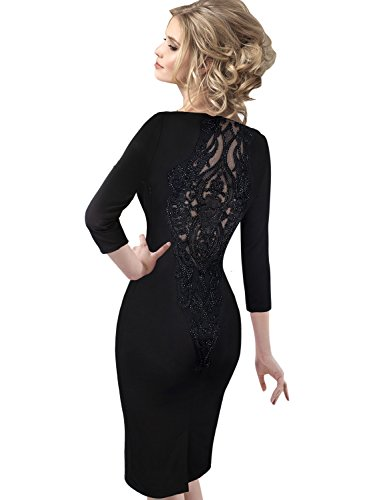 VfEmage Womens Bead Embroidery Mesh Cocktail Evening Party Sheath Dress 8678 Blk 14