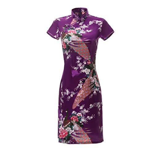 Shanghai Story Short Sleeve Peacock Print Short Qipao Faux Silk Cheongsam Purple 6XL