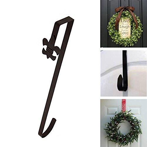 Adorox Bronze Fleur De Lis Over Door Holiday Decorative Wreath Hanger Hook (Dark Bronze)