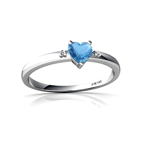 14kt White Gold Blue Topaz and Diamond 4mm Heart Sweet and Petite Ring - Size 9