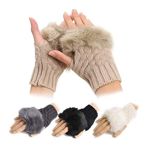 Jaskin Womens Faux Rabbit Fur Knitted Hand Wrist Warmer Fingerless Gloves Winter Glove