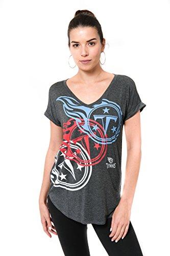 Icer Brands NFL Tennessee Titans Women's T-Shirt V-Neck Soft Modal Tee Shirt, Small, (Tennessee Football T-shirt)