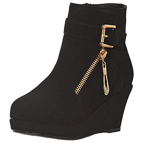 shoewhatever Girl's Platform Wedge Heel Ankle Booties with Buckled Strap (12, Black) Black Suede Buckled Ankle Bootie
