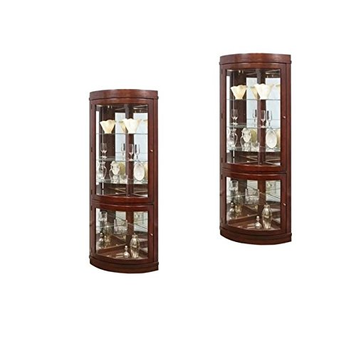 Home Square (Set of 2) Corner Curio Cabinet in Chocolate Cherry